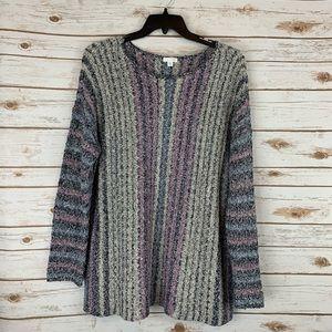 J Jill Sweater XL Tunic Vertical Stripe blue pink
